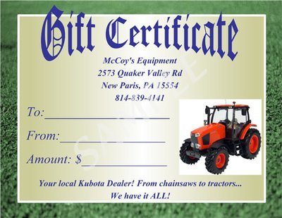 McCoy's Equipment Gift Certificate #1