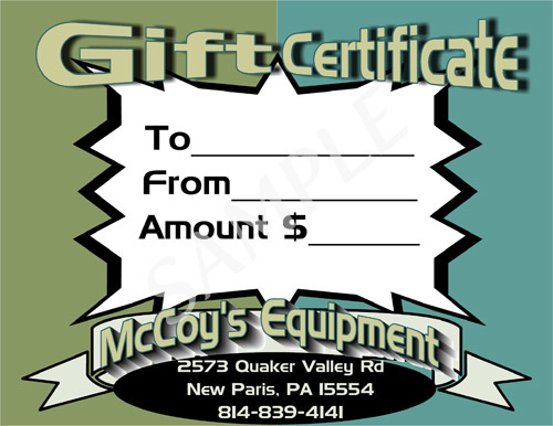 McCoy's Equipment Gift Certificate #3