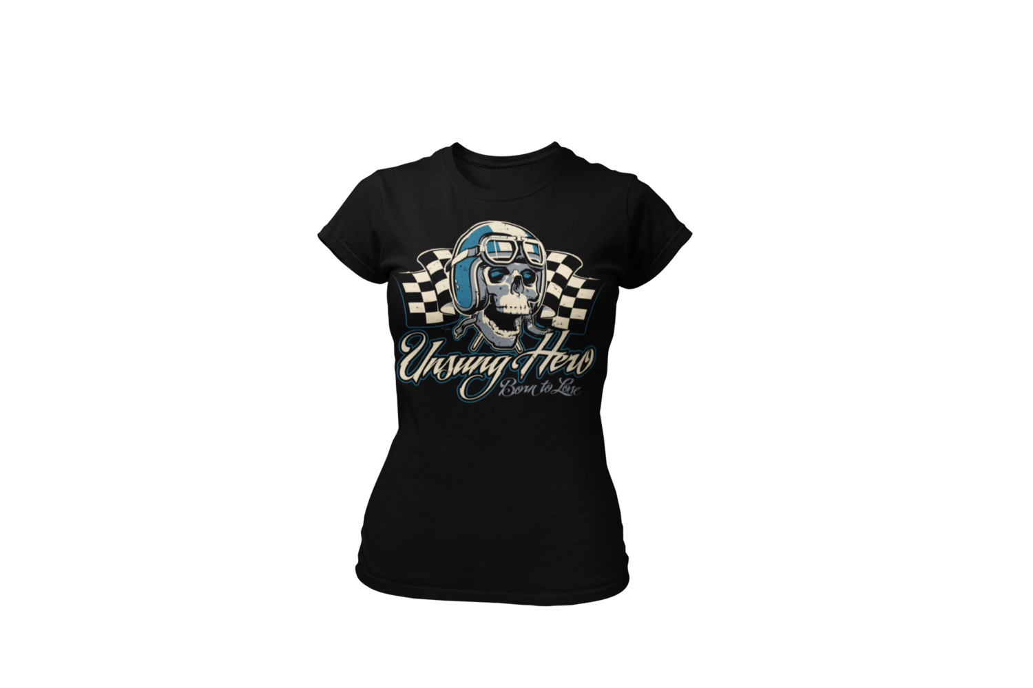 """USUNG HERO """"skull"""" T-SHIRT WOMAN by Ger """"Dutch Courage"""" Peters artwork"""