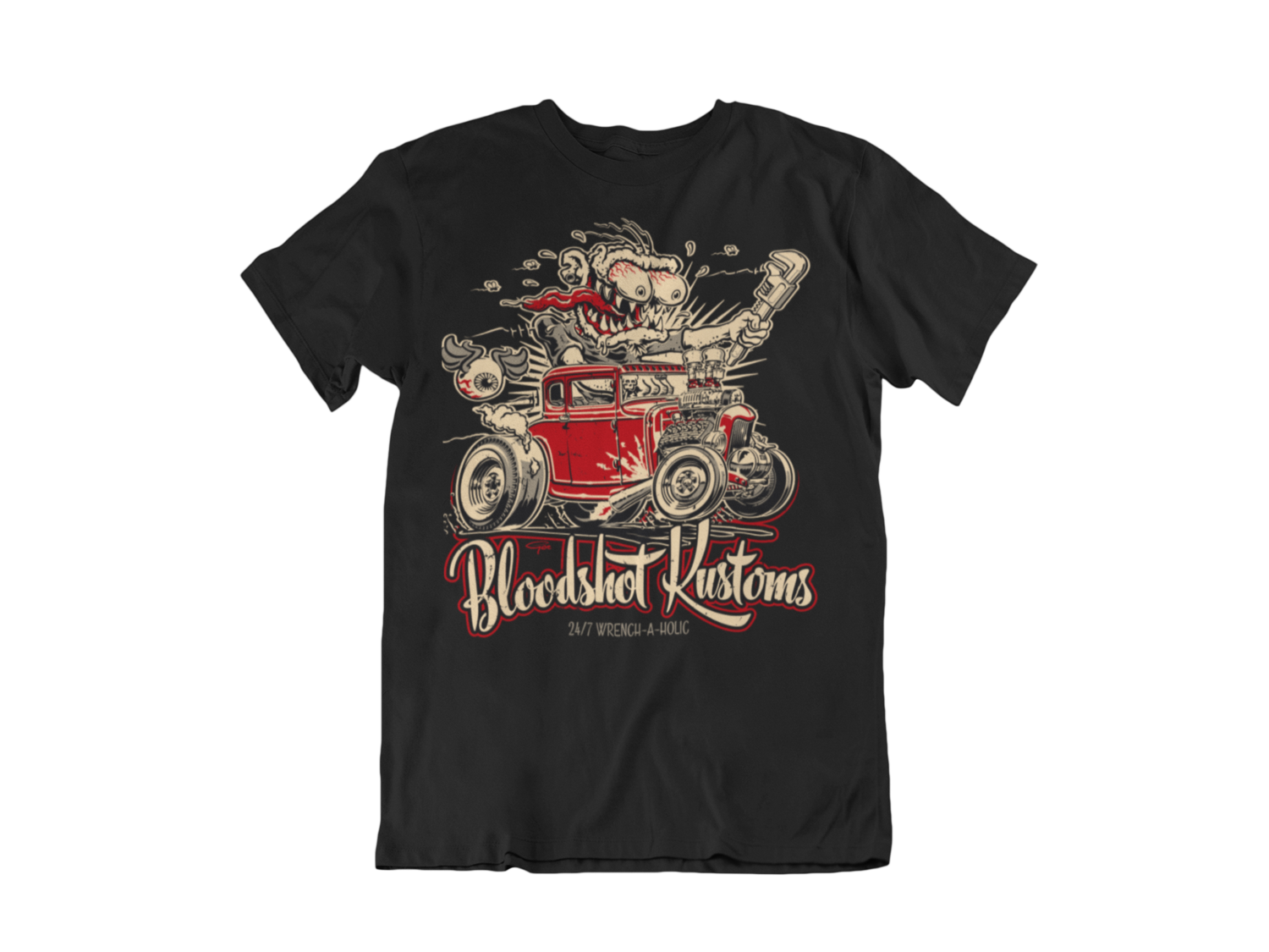 """BLOODSHOT KUSTOMS """"Monkey Wrench"""" T-SHIRT MAN BY Ger """"Dutch Courage"""" Peters artwork"""
