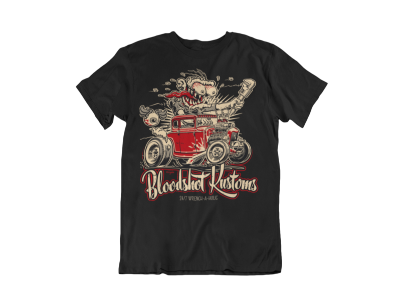 "BLOODSHOT KUSTOMS ""Monkey Wrench"" T-SHIRT MAN BY Ger ""Dutch Courage"" Peters artwork"