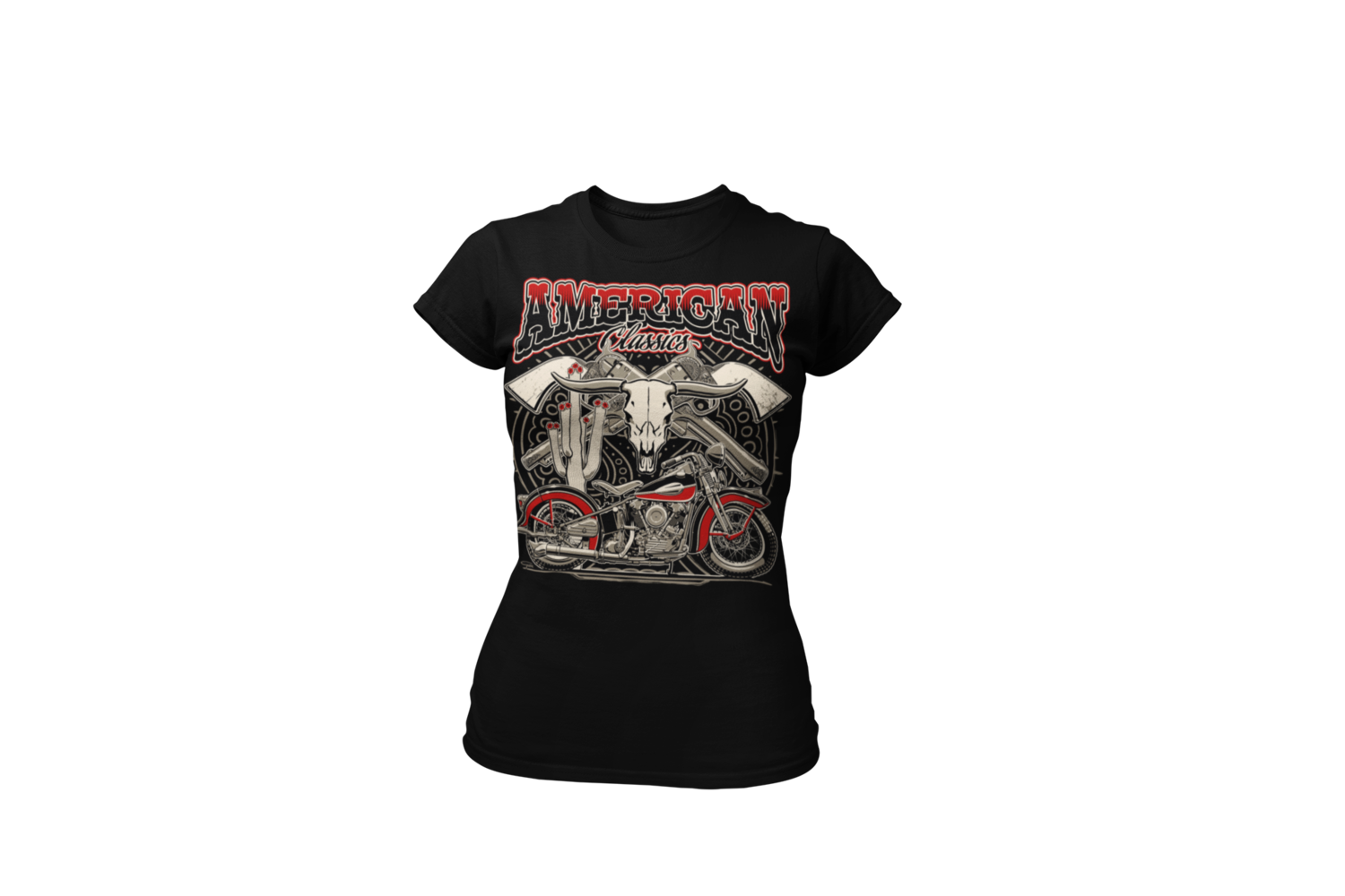 """AMERICAN CLASSICS """"KnuckleHead""""  T-SHIRT WOMAN by Ger """"Dutch Courage"""" Peters artwork"""