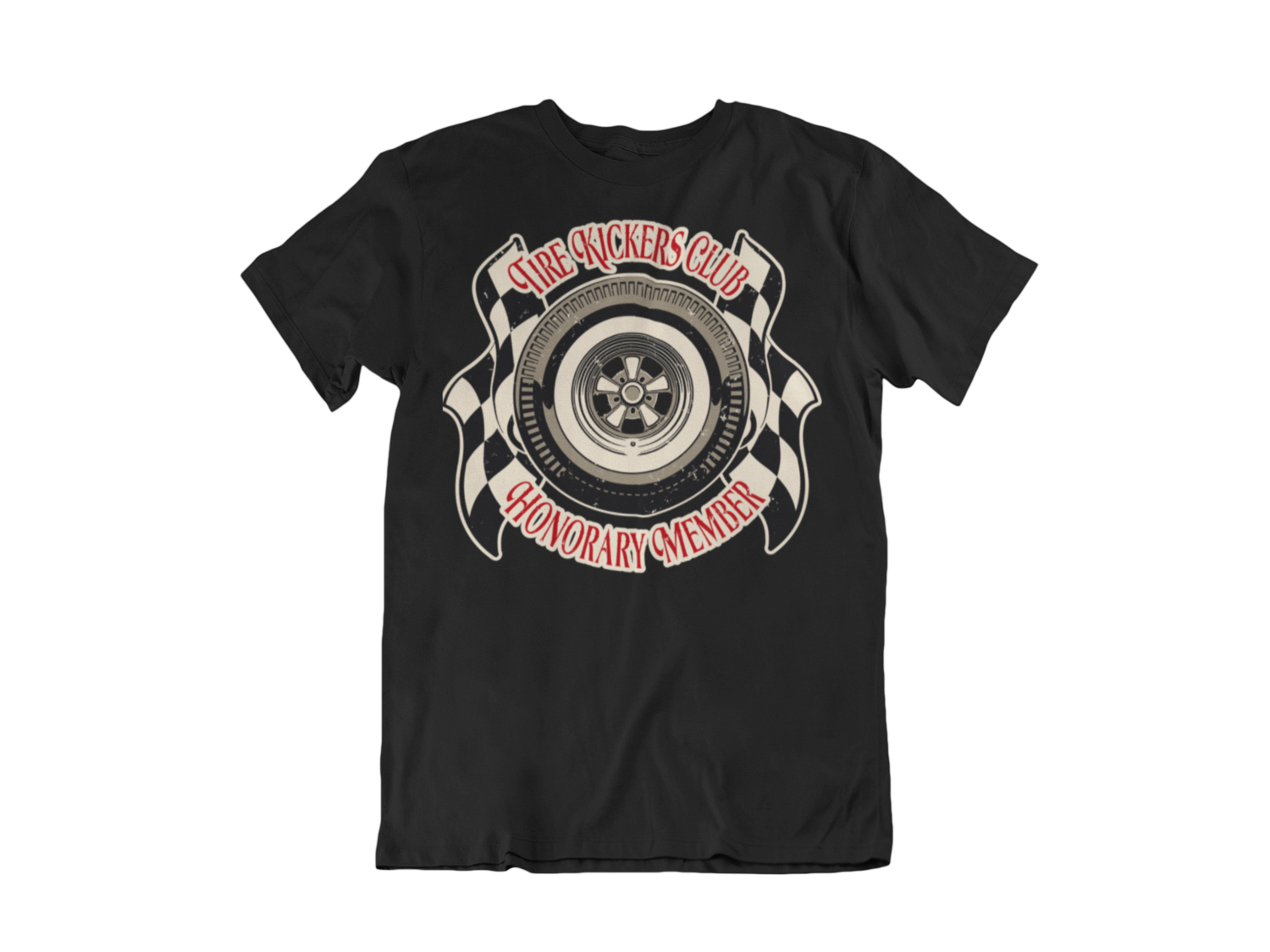 """TIRE KICKERS CLUB T-SHIRT MAN BY Ger """"Dutch Courage"""" Peters artwork"""