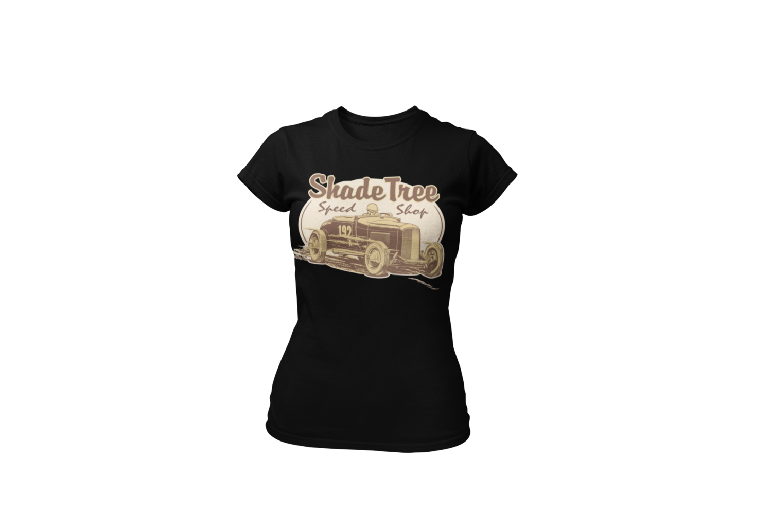 """SHADE TREE SPEED SHOP """"El Mirage"""" T-SHIRT WOMAN by Ger """"Dutch Courage"""" Peters artwork"""