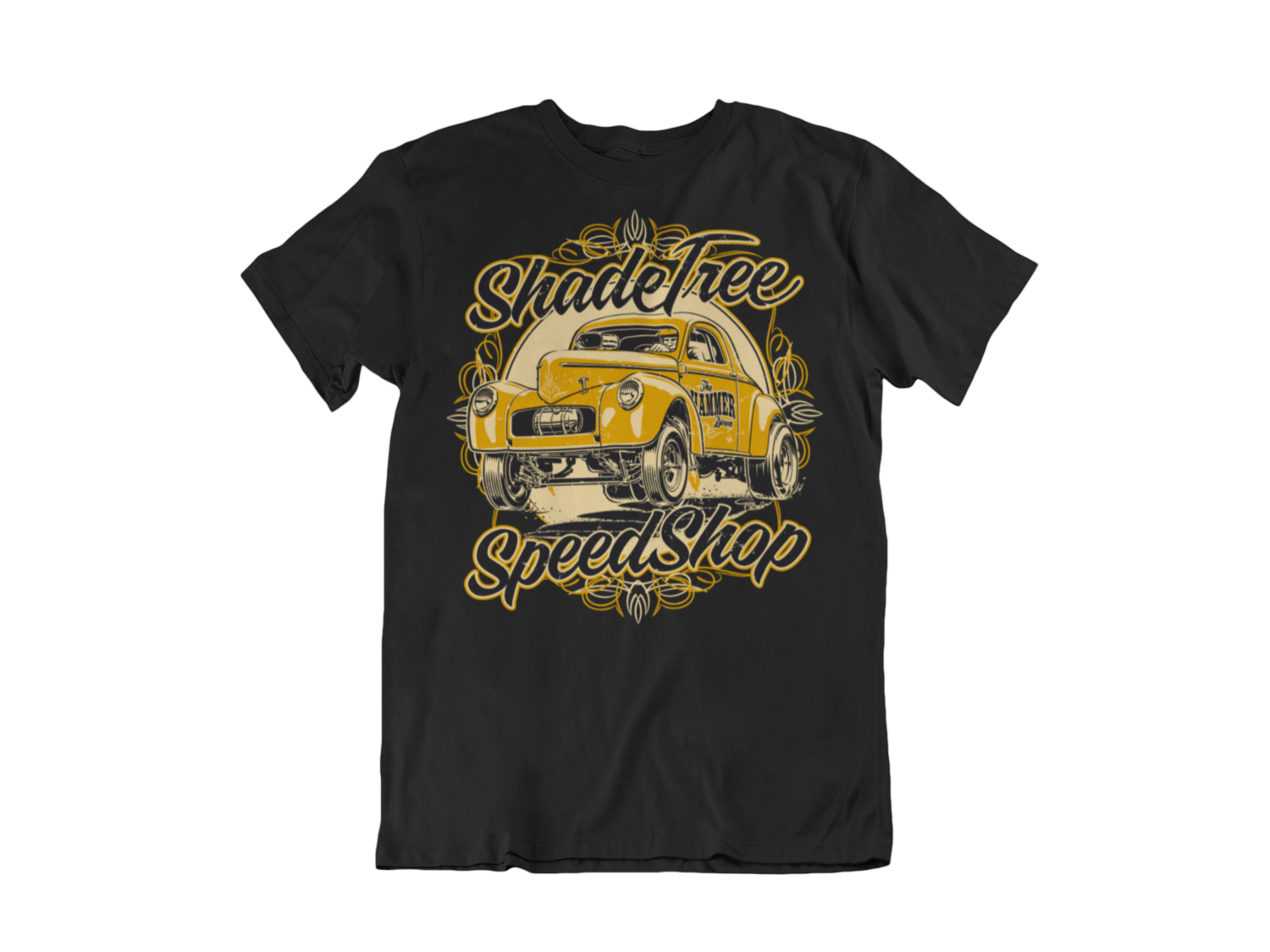 "SHADE TREE SPEED SHOP ""Willys"" T-SHIRT MAN BY Ger ""Dutch Courage"" Peters artwork"