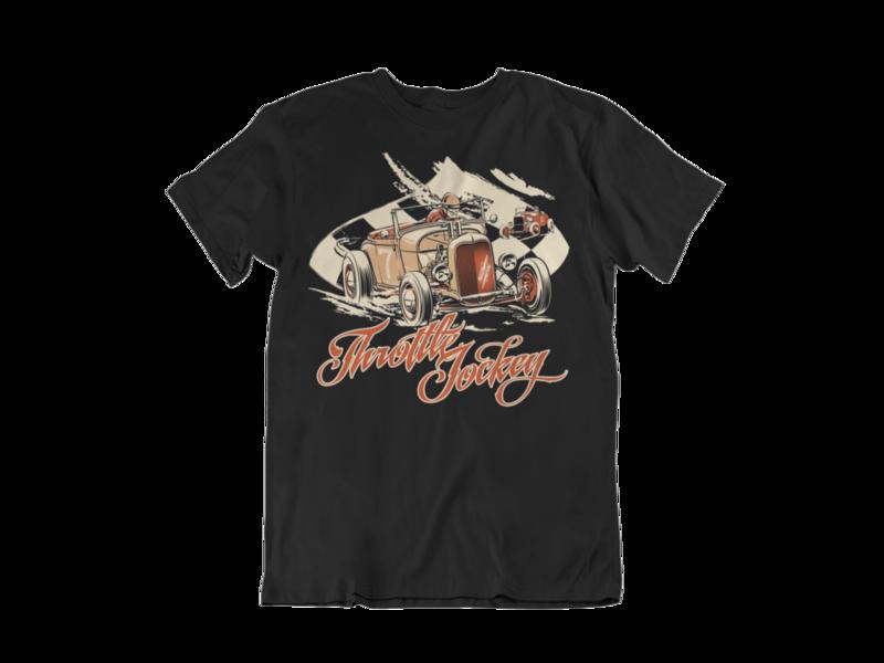 "THROTTLE JOCKEY ""Roadster race"" T-SHIRT MAN BY Ger ""Dutch Courage"" Peters artwork"
