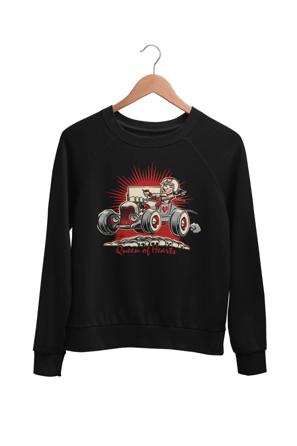 "QUEEN OF HEARTS SWEATSHIRT UNISEX by BY Ger ""Dutch Courage"" Peters artwork"