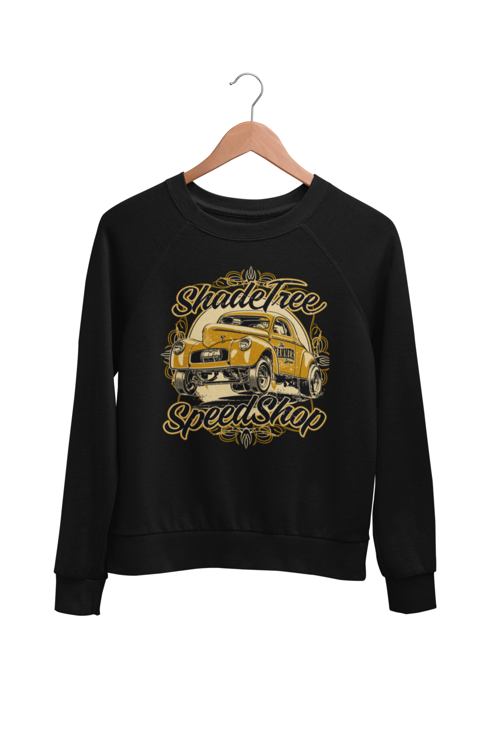 "SHADE TREE SPEED SHOP ""Willys"" SWEATSHIRT UNISEX by BY Ger ""Dutch Courage"" Peters artwork"