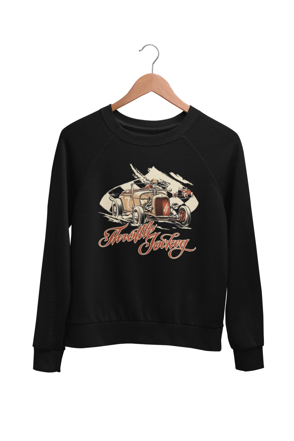 "THROTTLE JOCKEY ""roadster race"" SWEATSHIRT UNISEX by BY Ger ""Dutch Courage"" Peters artwork"