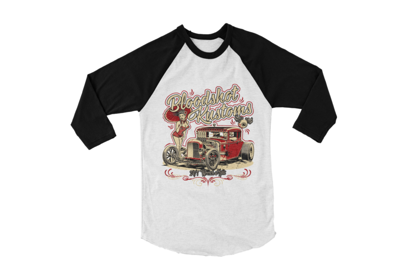 "BLOODSHOT KUSTOMS ""Hemi rod pin up"" BASEBALL LONG SLEEVE UNISEX by BY Ger ""Dutch Courage"" Peters artwork"