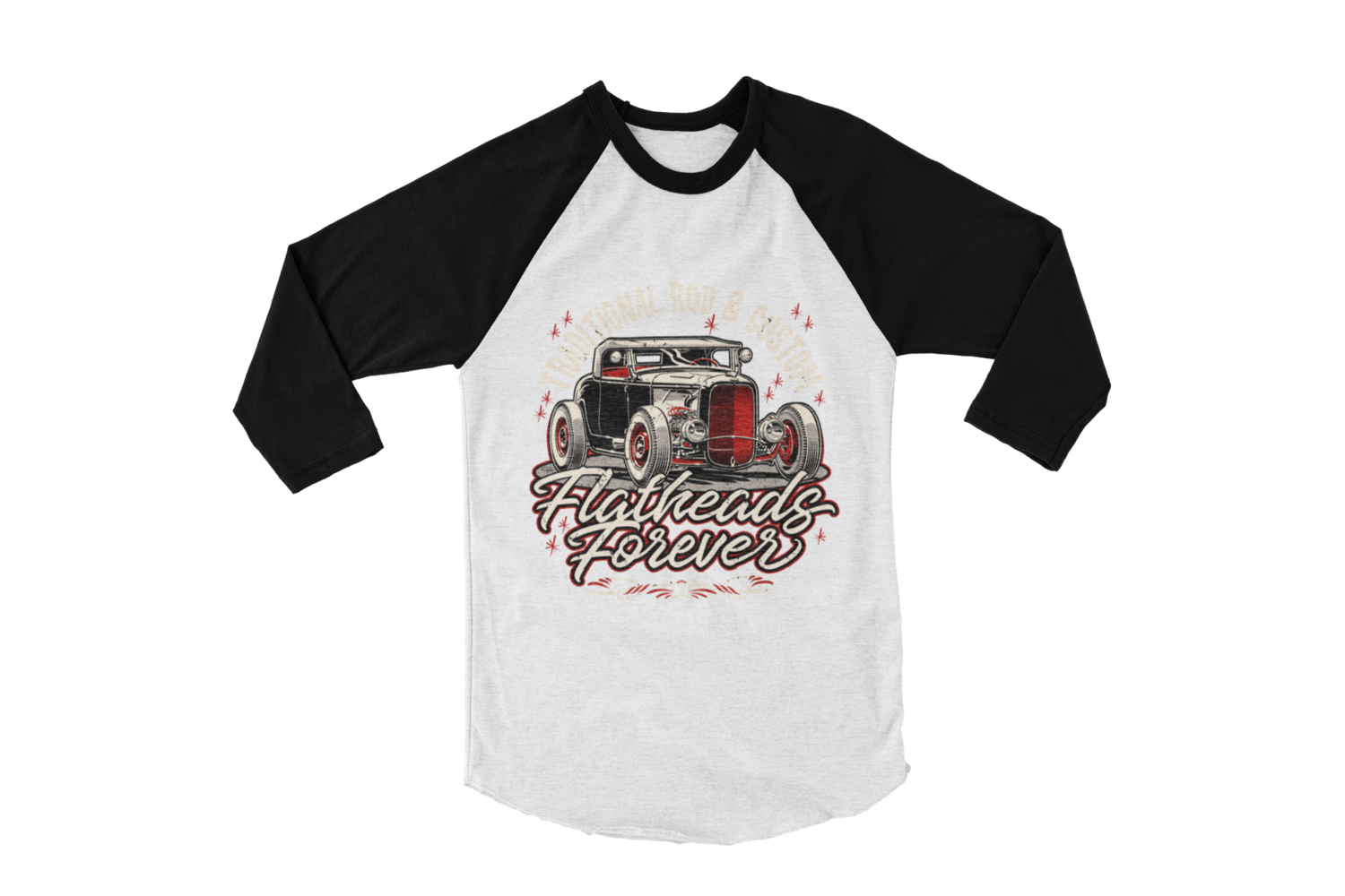 """FLATHEAD FOREVER  BASEBALL LONG SLEEVE UNISEX BY Ger """"Dutch Courage"""" Peters artwork"""