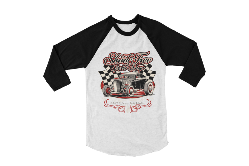 "SHADE TREE SPEED SHOP ""Deuce"" BASEBALL LONG SLEEVE UNISEX BY Ger ""Dutch Courage"" Peters artwork"
