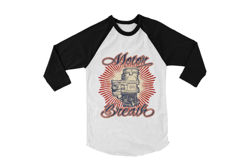 "MOTOR BREATH BASEBALL LONG SLEEVE UNISEX BY Ger ""Dutch Courage"" Peters artwork"