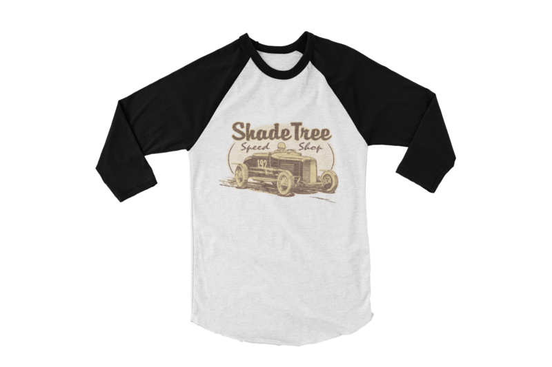 "SHADE TREE SPEED SHOP ""El Mirage"" BASEBALL LONG SLEEVE UNISEX BY Ger ""Dutch Courage"" Peters artwork"