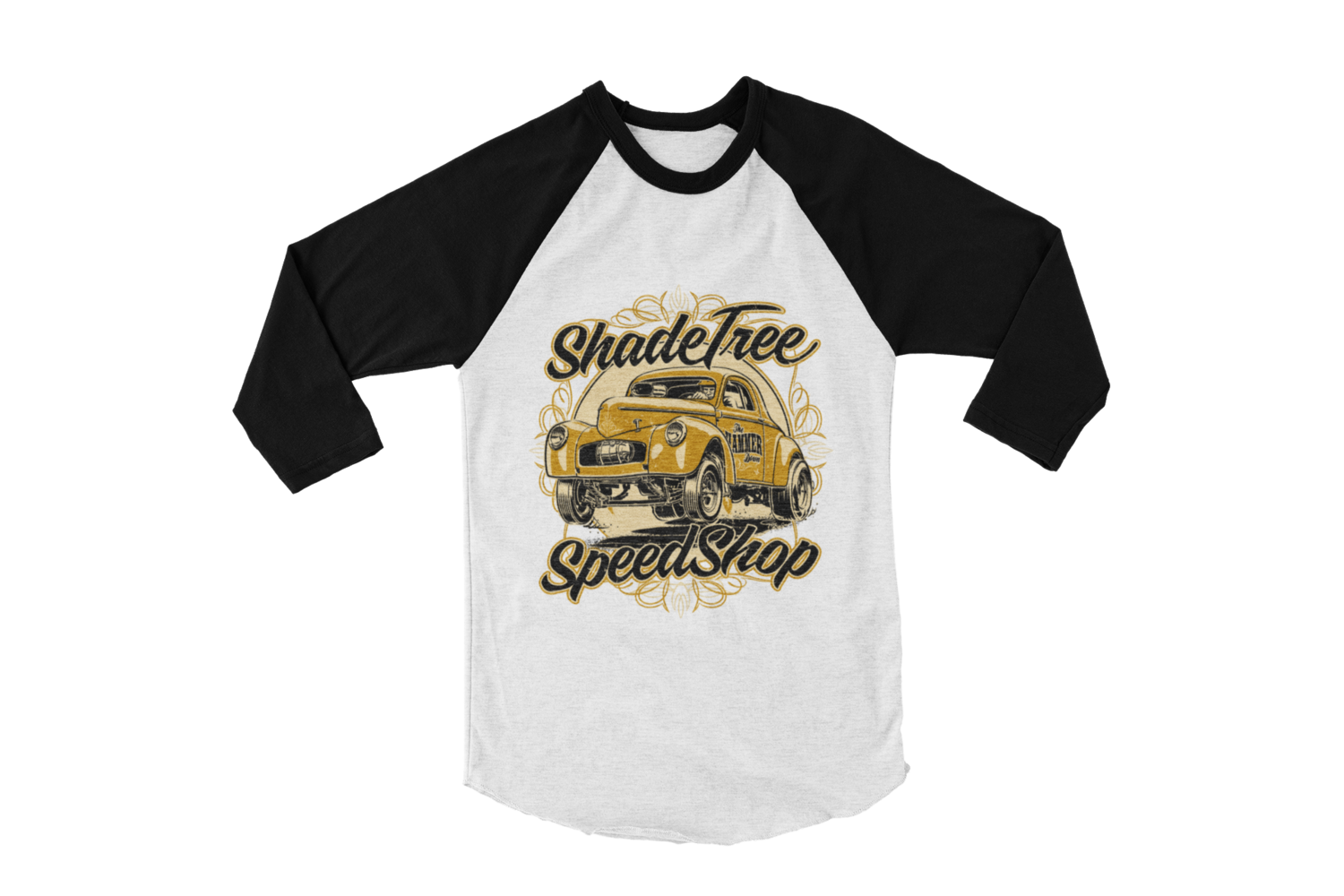 "SHADE TREE SPEED SHOP ""Willys"" BASEBALL LONG SLEEVE UNISEX BY Ger ""Dutch Courage"" Peters artwork"