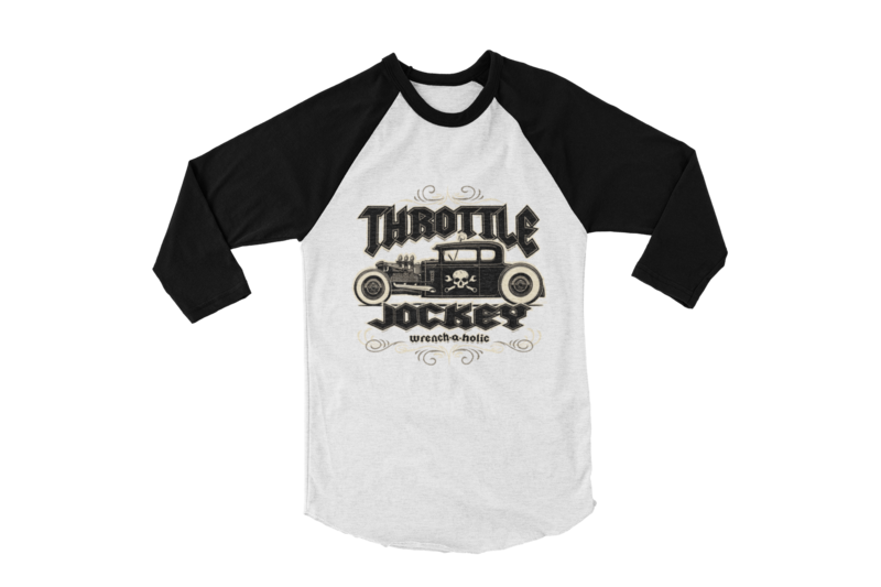 "THROTTLE JOCKEY ""Wrench a Holic"" BASEBALL LONG SLEEVE UNISEX BY Ger ""Dutch Courage"" Peters artwork"
