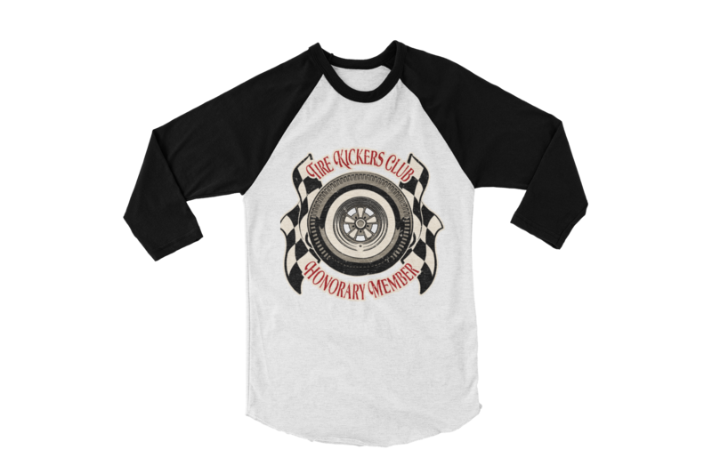 "TIRE KICKERS CLUB BASEBALL LONG SLEEVE UNISEX BY Ger ""Dutch Courage"" Peters artwork"