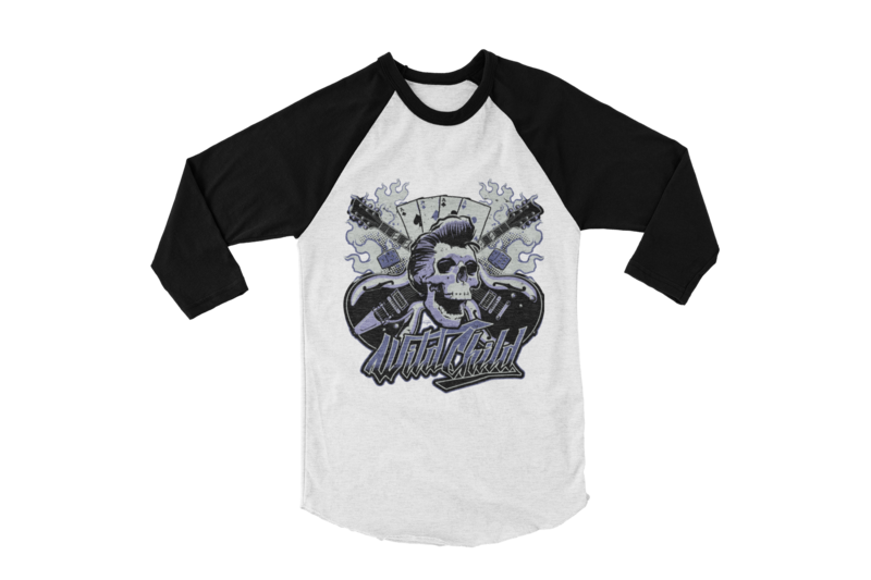 "WILD CHILD BASEBALL ROCKABILLY LONG SLEEVE UNISEX BY Ger ""Dutch Courage"" Peters artwork"