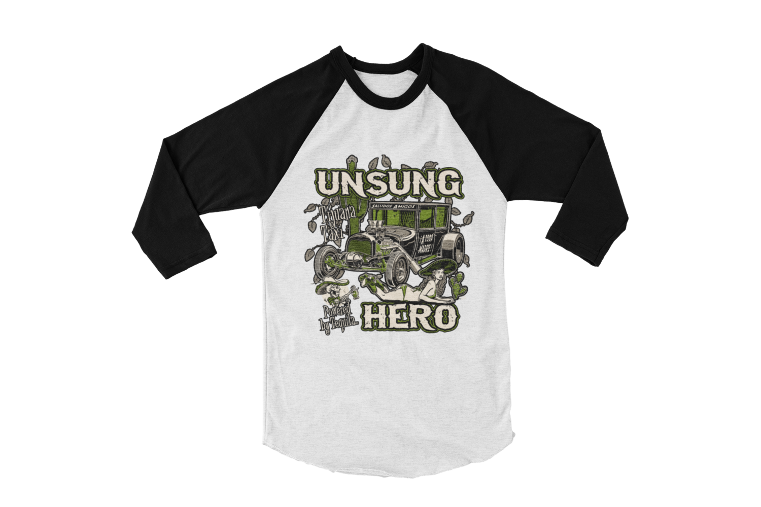 "UNSUNG HERO ""Tijuana Taxi""  LONG SLEEVE BASEBALL UNISEX BY Ger ""Dutch Courage"" Peters artwork"