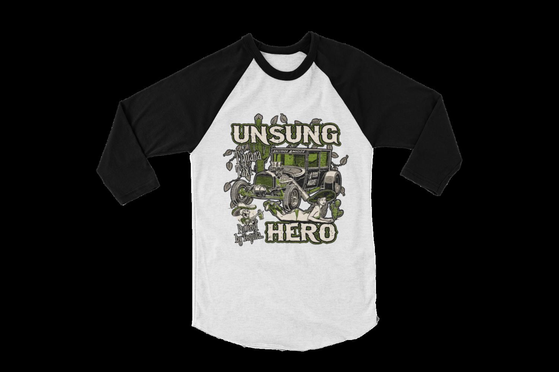 "UNSUNG HERO ""Tijuana Taxi""  LONG SLEEVE BASEBALL UNISEX BY Ger ""Dutch Courage"" Peters artwork"