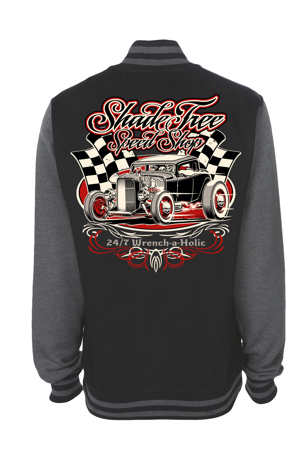 "SHADE TREE SPEED SHOP ""Deuce"" VARSITY JACKET UNISEX by Ger ""Dutch Courage"" Peters artwork"