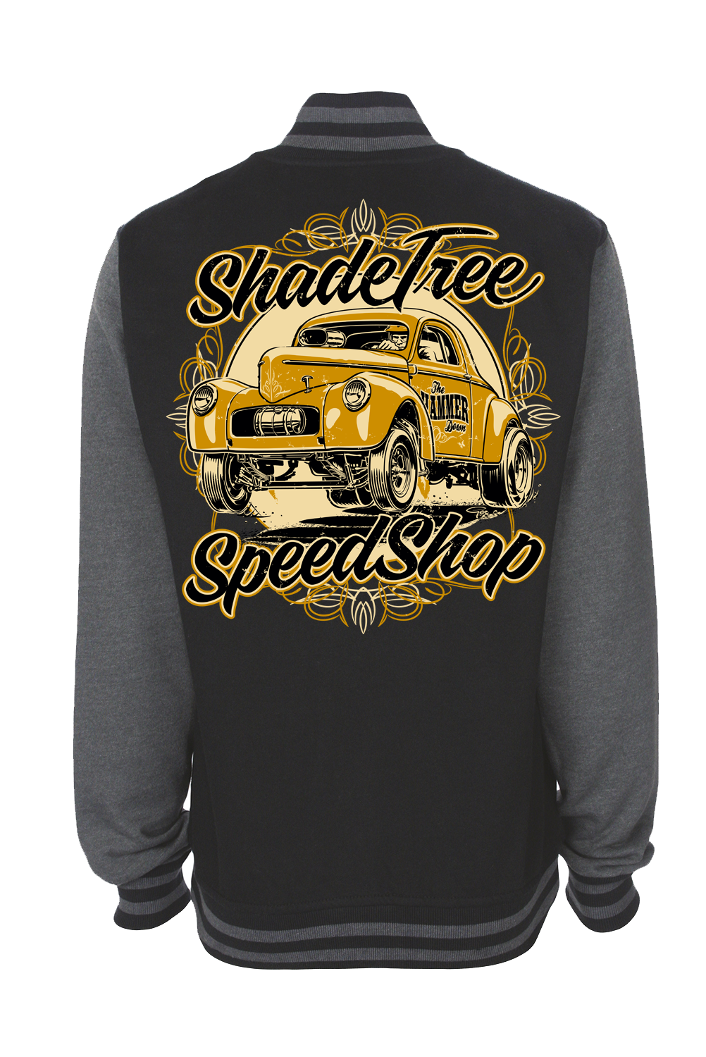 """SHADE TREE SPEED SHOP """"Willys"""" VARSITY JACKET UNISEX by Ger """"Dutch Courage"""" Peters artwork"""