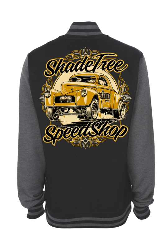 "SHADE TREE SPEED SHOP ""Willys"" VARSITY JACKET UNISEX by Ger ""Dutch Courage"" Peters artwork"