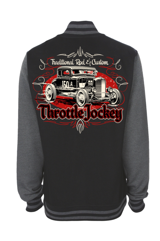 "THROTTLE JOCKEY ""Coupe"" VARSITY JACKET UNISEX by Ger ""Dutch Courage"" Peters artwork"