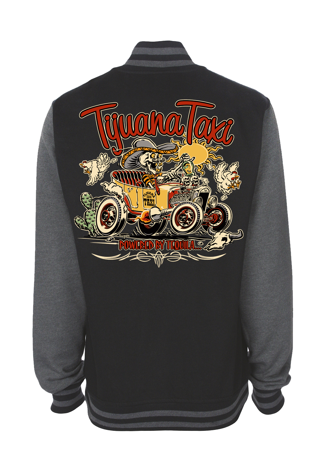 "TIJUANA TAXI VARSITY JACKET UNISEX by Ger ""Dutch Courage"" Peters artwork"
