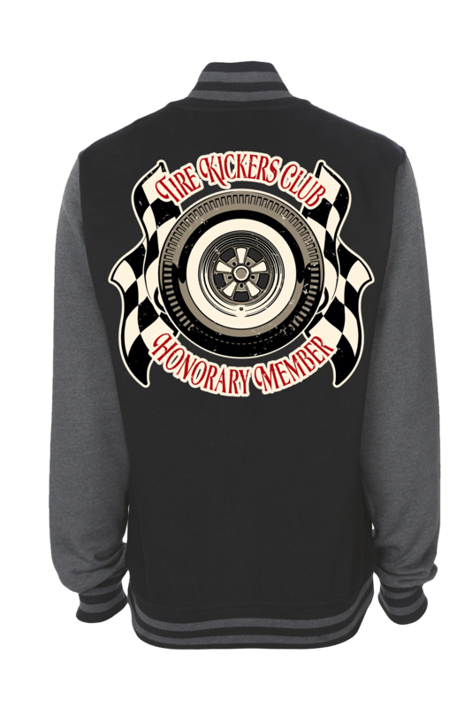"TIRE KICKERS CLUB VARSITY JACKET UNISEX by Ger ""Dutch Courage"" Peters artwork"