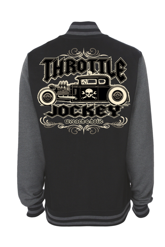 "THROTTLE JOCKEY ""wrench a holic"" VARSITY JACKET UNISEX by Ger ""Dutch Courage"" Peters artwork"
