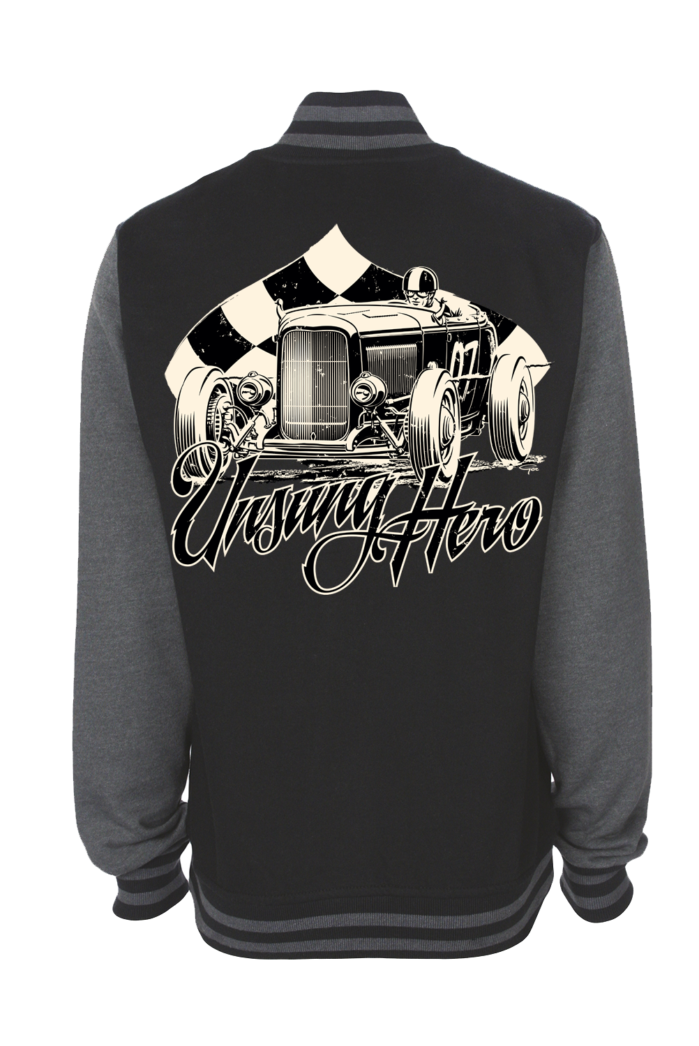 "UNSUNG HERO ""Roadster race"" VARSITY JACKET UNISEX by Ger ""Dutch Courage"" Peters artwork"