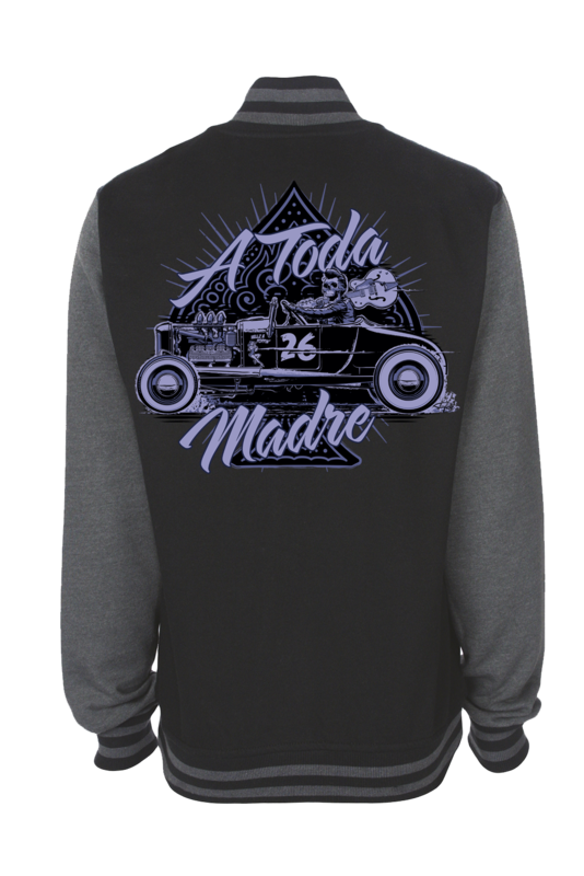 "TODA MADRE VARSITY JACKET UNISEX by Ger ""Dutch Courage"" Peters artwork"