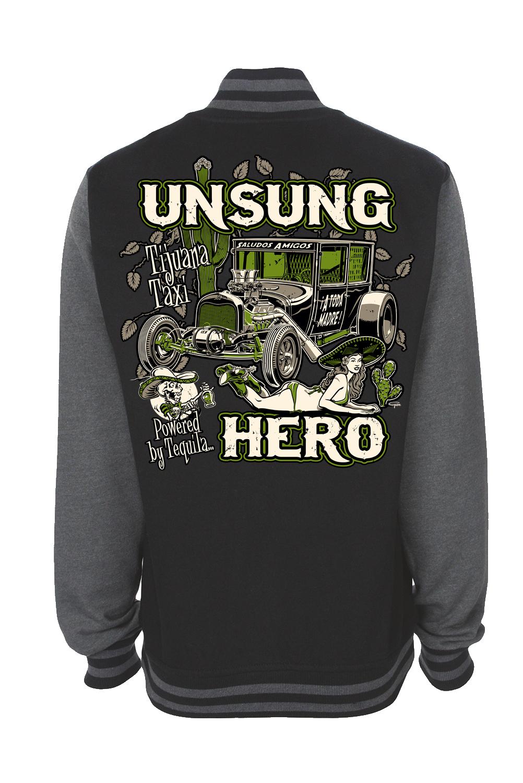"UNSUNG HERO ""Tijuana Taxi"" VARSITY JACKET UNISEX by Ger ""Dutch Courage"" Peters artwork"