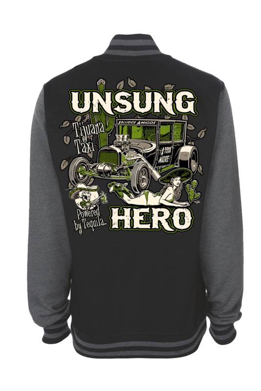 "UNSUNG HERO ""Tijuana Taxi"" VARSITY JACKET UNISEX by Ger ""Dutch Courage"" Peters artwork"