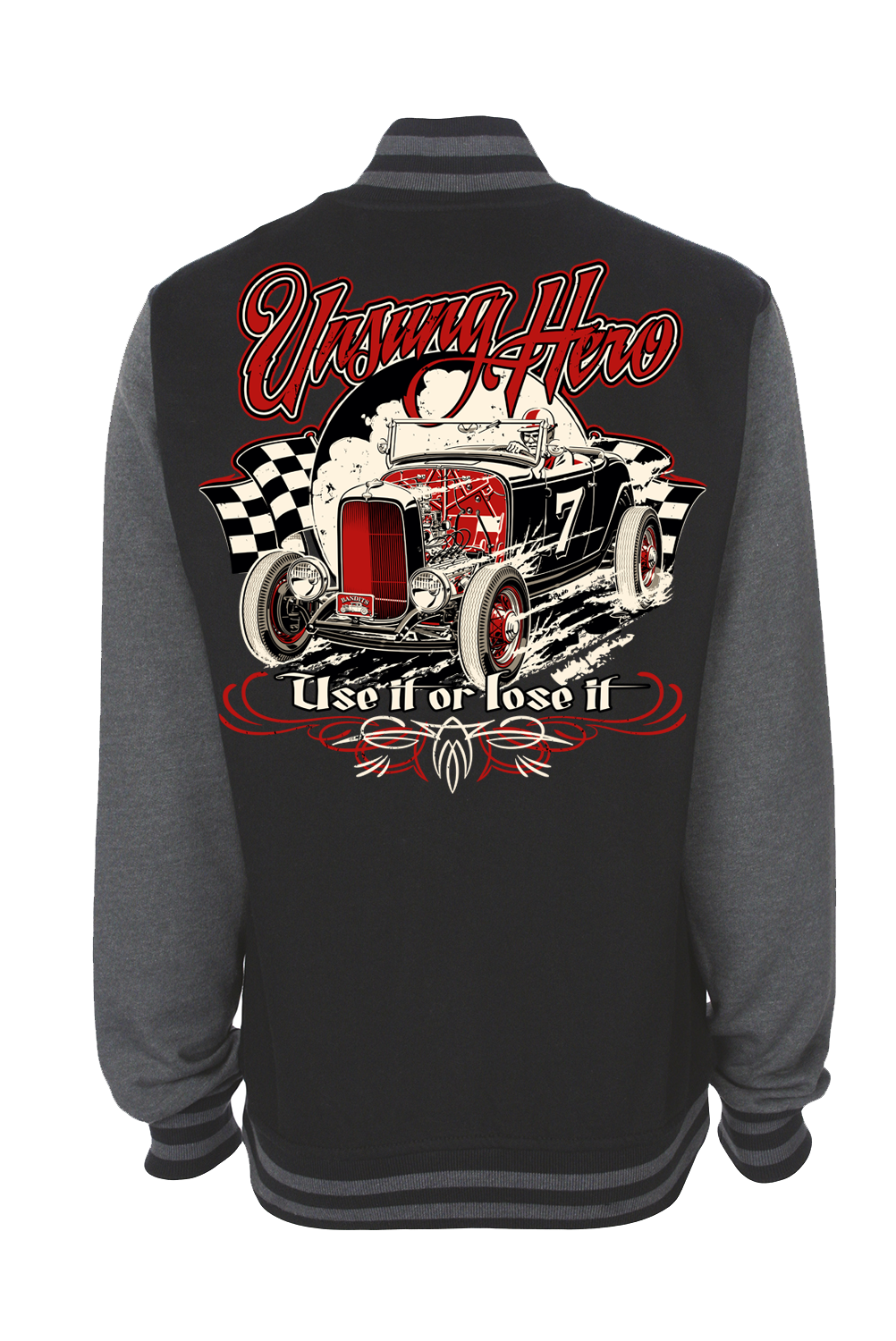 """UNSUNG HERO """"Use it or lose it"""" VARSITY JACKET UNISEX by Ger """"Dutch Courage"""" Peters artwork"""