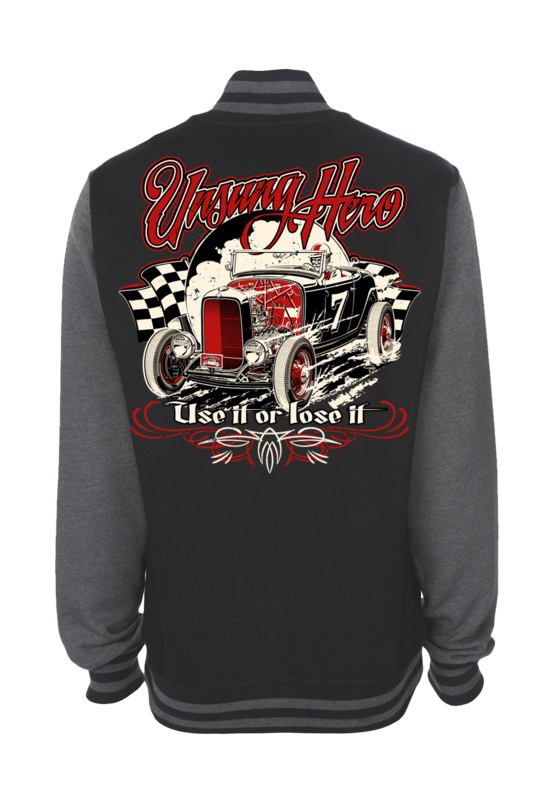 "UNSUNG HERO ""Use it or lose it"" VARSITY JACKET UNISEX by Ger ""Dutch Courage"" Peters artwork"