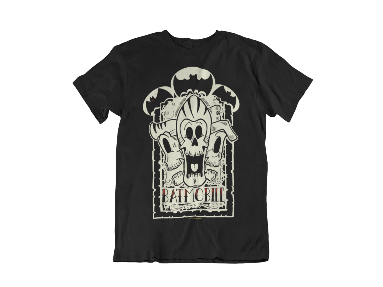 """BATMOBILE """"3 skulls"""" tshirt for MEN"""