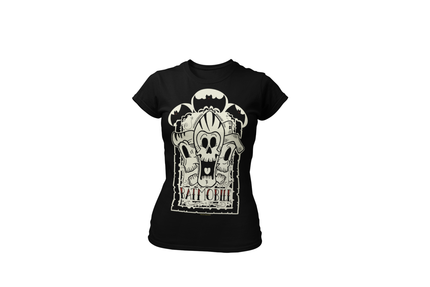 "BATMOBILE ""3 SKULLS""  tshirt for WOMEN"