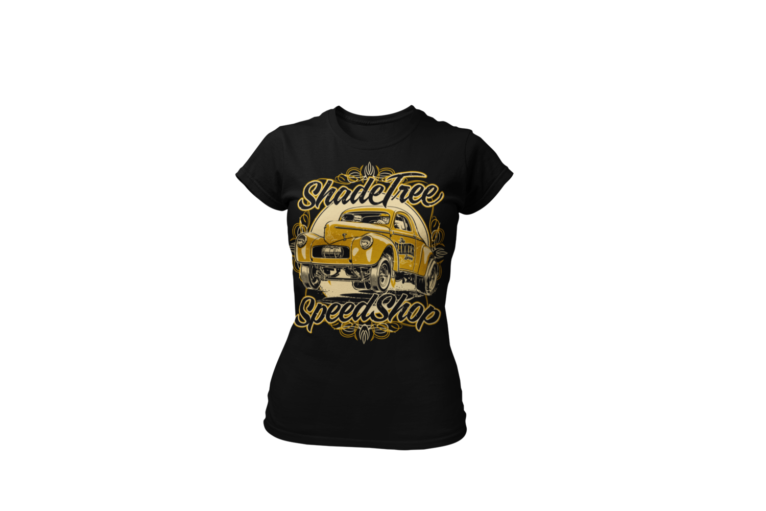 """SHADE TREE SPEED SHOP """"Willys"""" T-SHIRT WOMAN by Ger """"Dutch Courage"""" Peters artwork"""