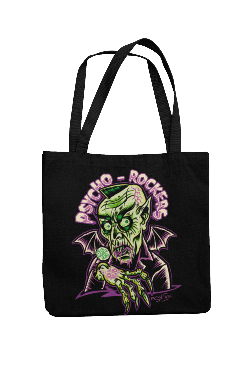 PSYCHO - ROCKERS Cotton Bag  logo design SOL RAC