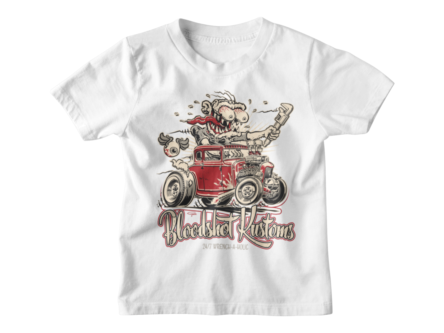 "BLOODSHOT KUSTOMS ""Monkey Wrench"" T-SHIRT KIDS BY Ger ""Dutch Courage"" Peters"