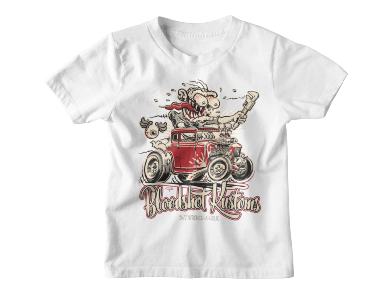 """BLOODSHOT KUSTOMS """"Monkey Wrench"""" T-SHIRT KIDS BY Ger """"Dutch Courage"""" Peters"""