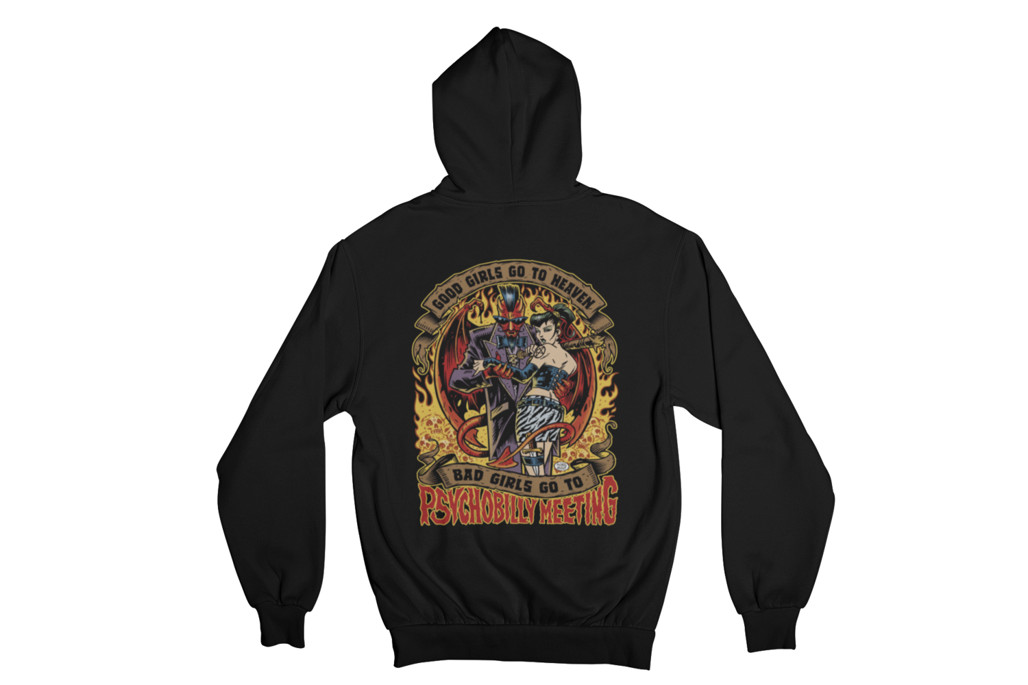 BAD GIRLS GO TO PSYCHOBILLY MEETING HOODIE ZIP for WOMEN by PASKAL