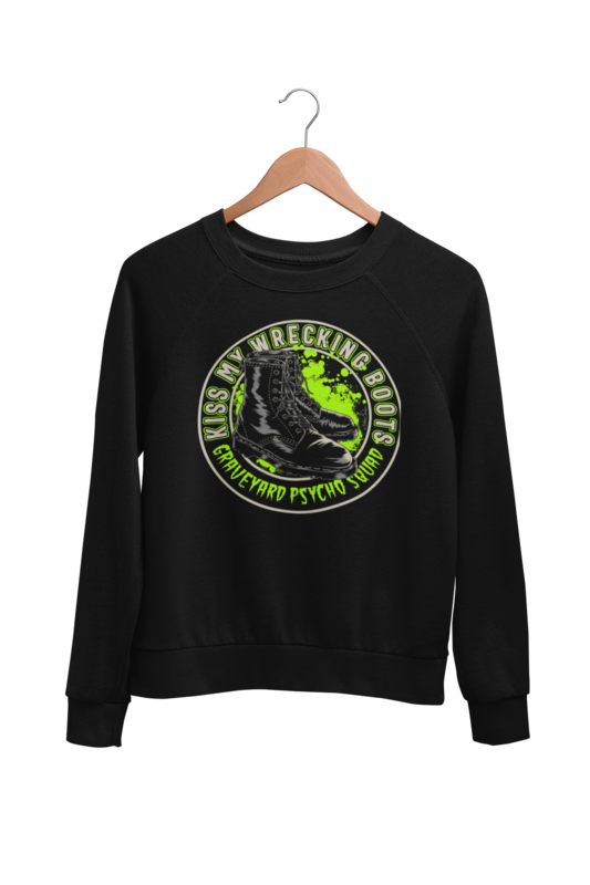 KISS MY WRECKING BOOTS SWEATSHIRT UNISEX BY NANO BARBERO