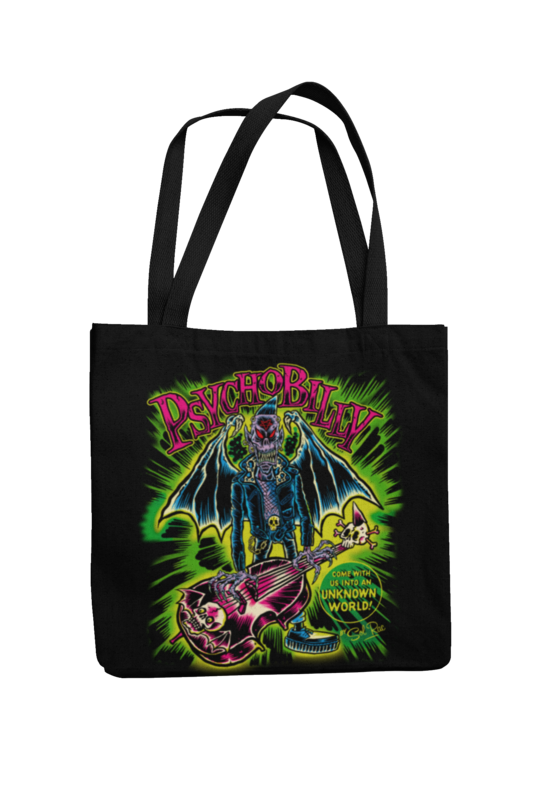 PSYCHOBILLY UNKNOWN WORLD Cotton Bag  logo design SOL RAC