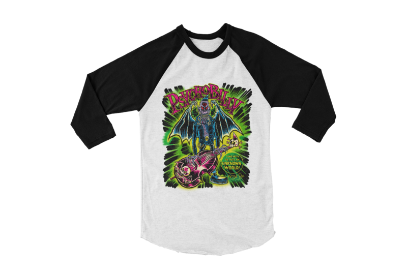 PSYCHOBILLY UNKNOWN WORLD BASEBALL LONG SLEEVE By SOL RAC