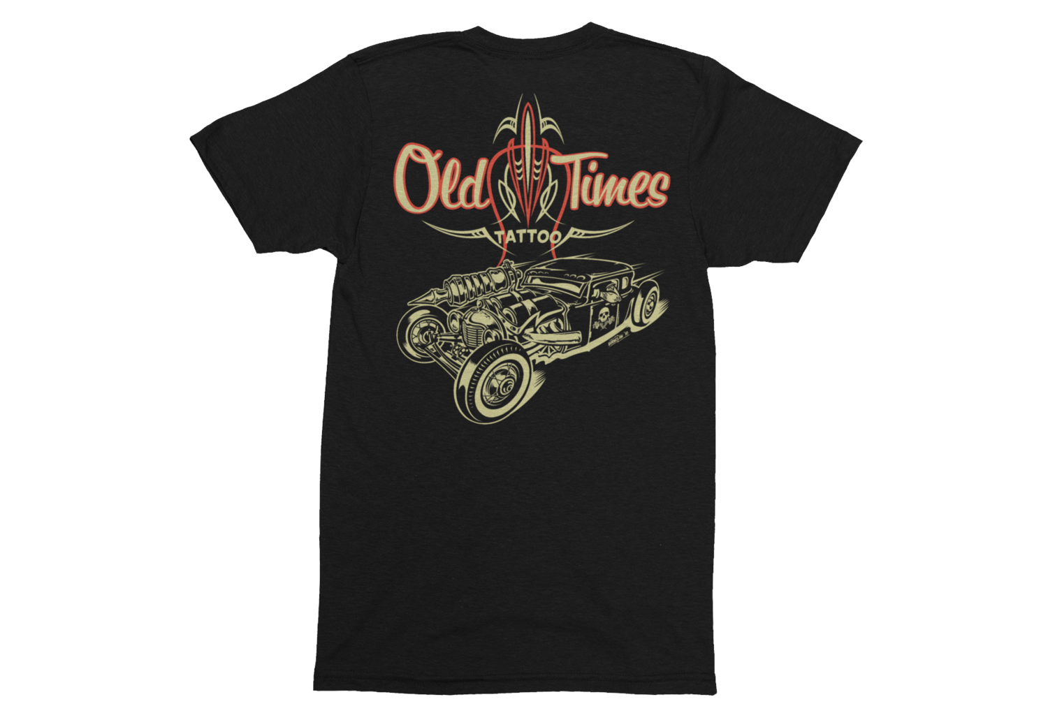 """OLD TIMES TATTOO """"Hot Rod logo"""" tshirt for MEN"""