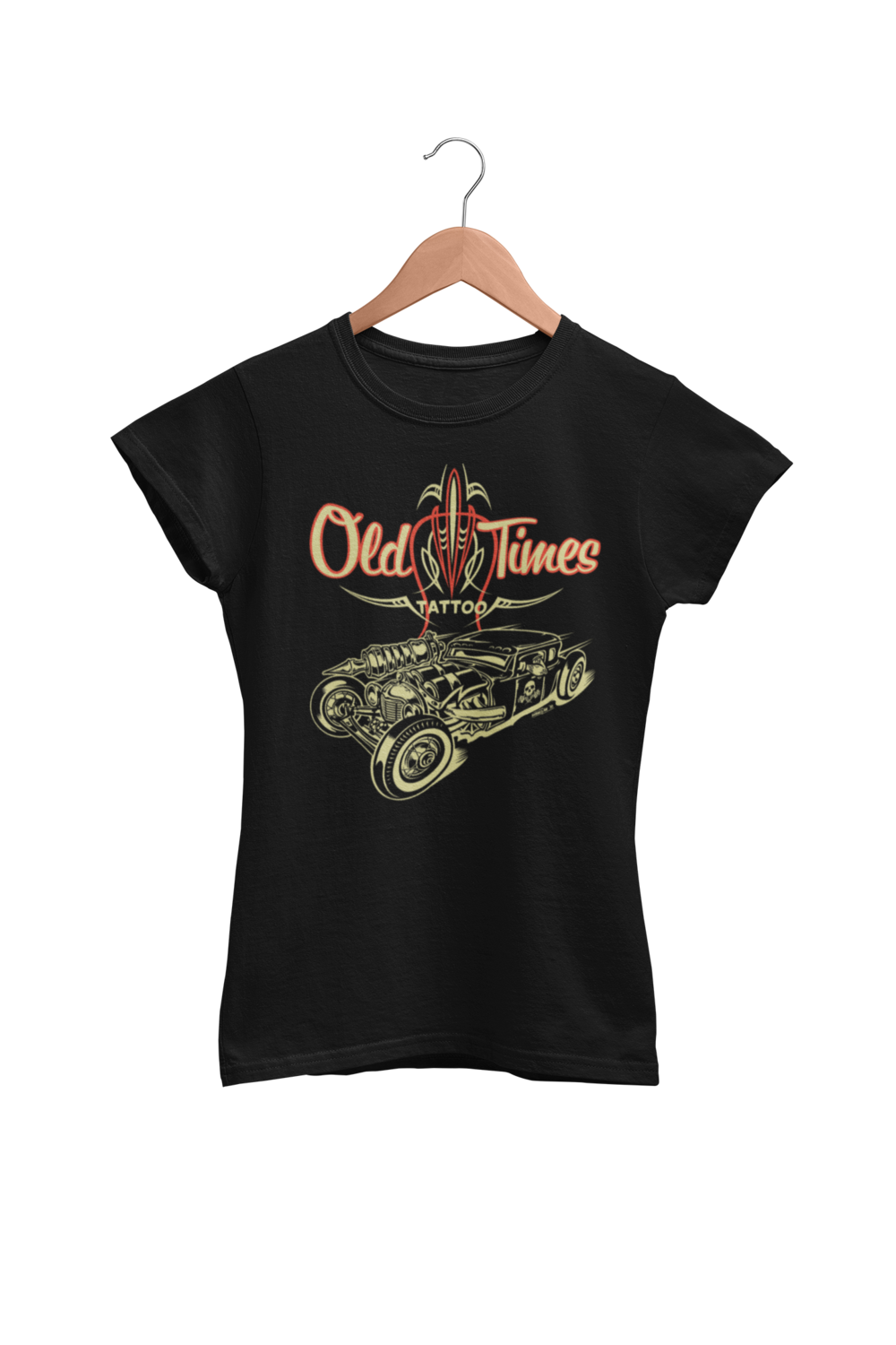 """OLD TIMES TATTOO """"Hot Rod logo"""" tshirt for WOMEN"""