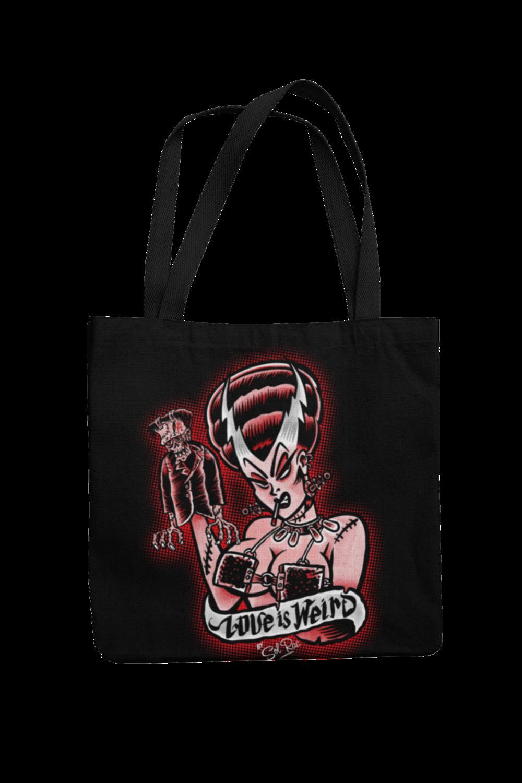 LOVE IS WEIRD Cotton Bag  logo design SOL RAC